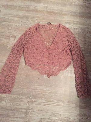 Zara Top de encaje rosa-rosa claro