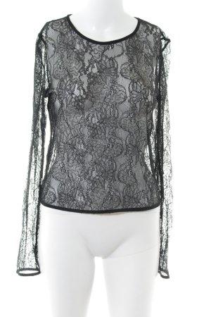 Zara Top di merletto nero motivo floreale stile semplice
