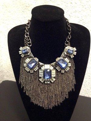 Zara Statement Kette Strass Blau Silber Neuwertig
