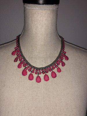 Zara Statementhalskette, pink, neu