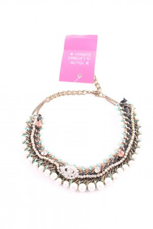 Zara Statement Necklace gold-colored-turquoise wet-look