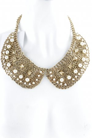 Zara Statementkette goldfarben-wollweiß Elegant