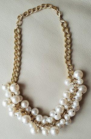 ZARA Statementkette mit Perlen, Perlenkette, wie neu