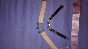 Zara Statementketten 3 Stück schwarz lila rosa Silber