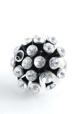 Zara Bague incrustée de pierres gris clair-noir élégant