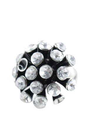 Zara Statementring hellgrau-schwarz Elegant