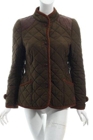 Zara Steppjacke khaki-braun Steppmuster Materialmix-Look