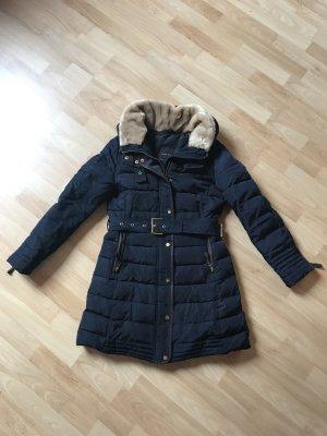 Zara Basic Down Coat dark blue mixture fibre