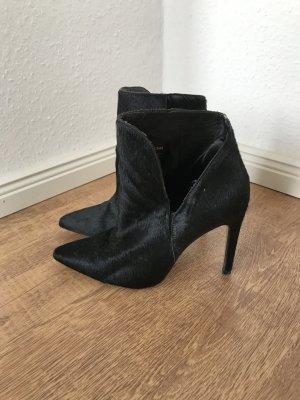 Zara Stiefel Booties Stiefeletten Schwarz Fell Fur 37 Blogger
