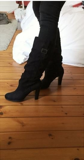 Zara Botte haute noir-taupe