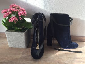 Zara Patucos con punta abierta azul