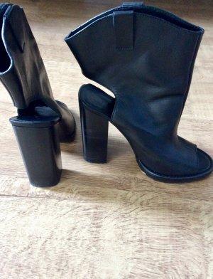 ZARA Stiefeletten Ankle Boots Peeptoe Cut Outs Leder Schwarz 37 Blogger