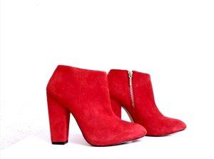 Zara Stiefeletten Blogger rot high Heels blockabsatz
