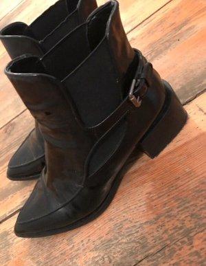 ZARA Stiefeletten Chelsea Boots Lack Schwarz 40