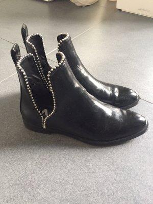 ZARA Stiefeletten schwarz Silber Gr 38 wie neu