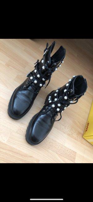Zara Stiefeletten/ Stiefel mit Perlen Silber schwarz