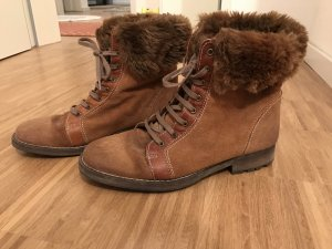 ZARA Stiefeletten Wildleder braun 39 Fellimitat warm Winter
