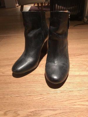 Zara Bottine à talon compensé noir-brun faux cuir