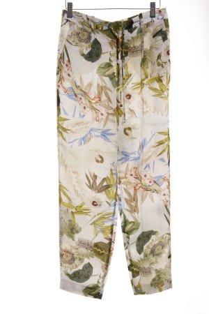 Zara Stoffhose creme-grün florales Muster Beach-Look