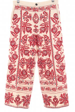 Zara Stoffhose creme-rot florales Muster Casual-Look