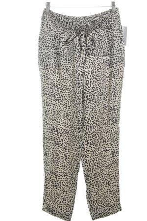 Zara Pantalon en jersey crème-noir motif léopard style décontracté