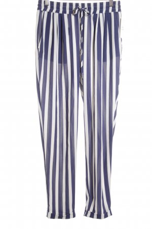 Zara Pantalon en jersey bleu foncé-blanc motif rayé style marin