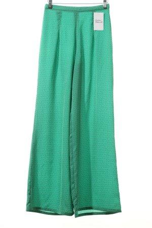 Zara Stoffhose grün-blau abstraktes Muster extravaganter Stil