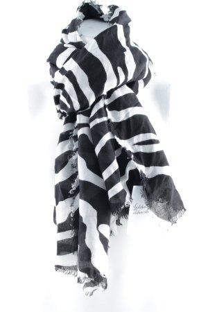 Zara Étole noir-blanc motif animal style décontracté