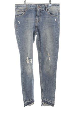 Zara Straight-Leg Jeans neonblau Casual-Look