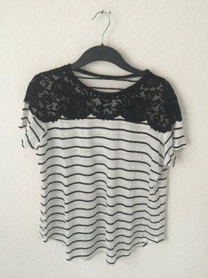 Zara Streifen Shirt mit Spitze Detail