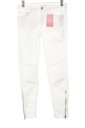 Zara Stretch Jeans white biker look