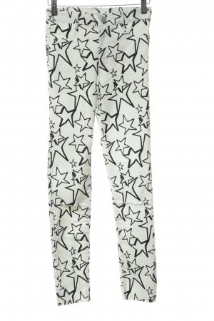 Zara Pantalon strech blanc cassé-noir Motif d'étoiles style déchiré