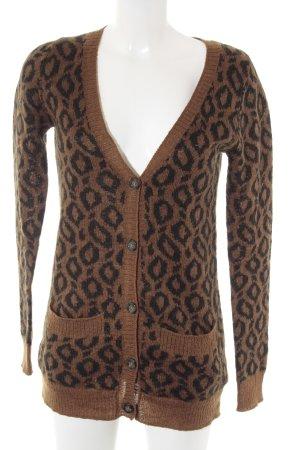 Zara Cardigan tricotés marron clair-noir motif léopard style décontracté