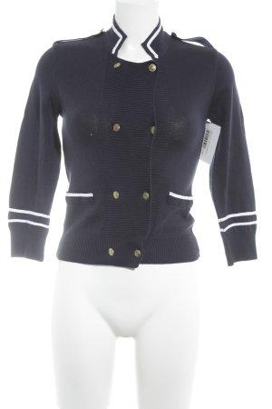 Zara Strick Cardigan weiß-dunkelblau Marine-Look