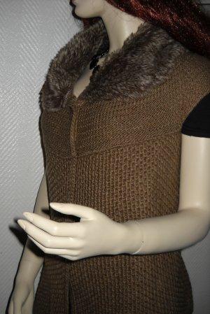 ZARA Strick Long Weste Jacke mittel braun Fell Kragen Fake Fure 36 38 40 S M L