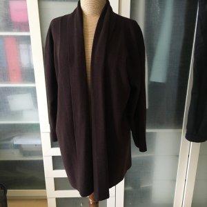 Zara Gebreide jas zwart bruin