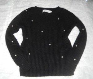 ZARA Strick Pullover Pulli Mohair schwarz Perlen Stickerei creme S M L 36 38 40