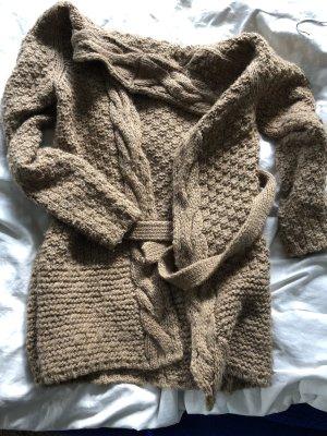 Zara Veste en tricot marron clair-beige