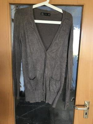 Zara Strickjacke Größe M braun grau meliert Strickjacke Longpullover