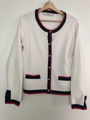 Zara - Strickjacke (L) in creme mit rot/schwarzen Rändern und Perlenbesatz