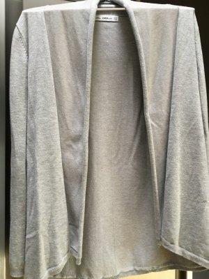 Zara Veste en tricot gris clair-gris coton
