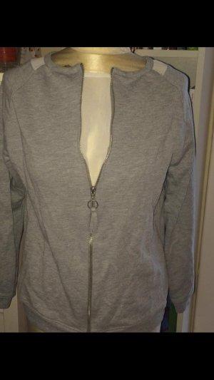 Zara Sweat Jacket silver-colored cotton
