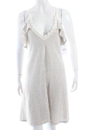 Zara Strickkleid beige-grau Streifenmuster klassischer Stil