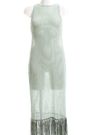 Zara Strickkleid graugrün Lochstrickmuster Casual-Look