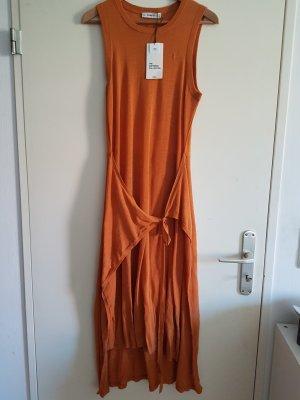 Zara Vestido tejido color bronce-naranja oscuro