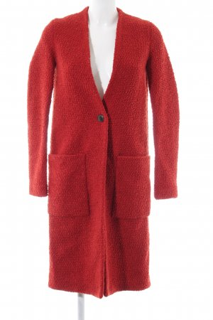 Zara Gebreide jas donkerrood casual uitstraling