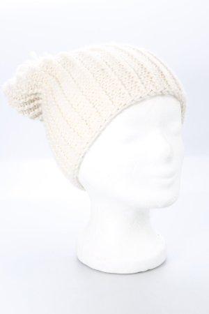 Zara Chapeau en tricot blanc cassé style décontracté