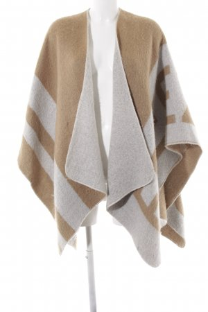 Zara Gebreide poncho beige-wolwit abstract patroon casual uitstraling