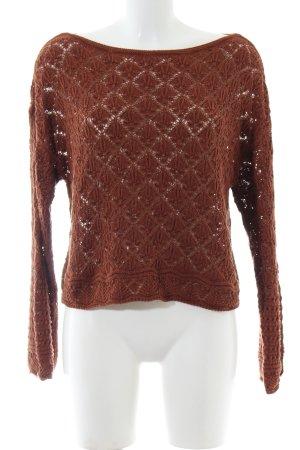 Zara Strickpullover braun grafisches Muster Casual-Look