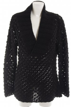 Zara Maglione lavorato a maglia nero punto treccia stile casual